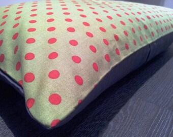 Green & Red Polka Dot Cushion Cover