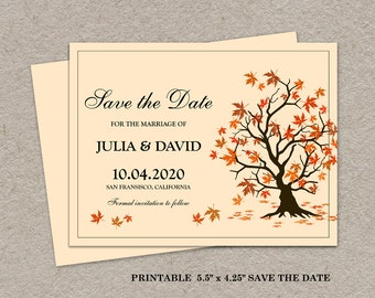 Fall Save The Date, Printable Fall Save The Date Postcard, Fall Wedding Save The Date, Autumn Save The Date, Printable DIY Save The Date