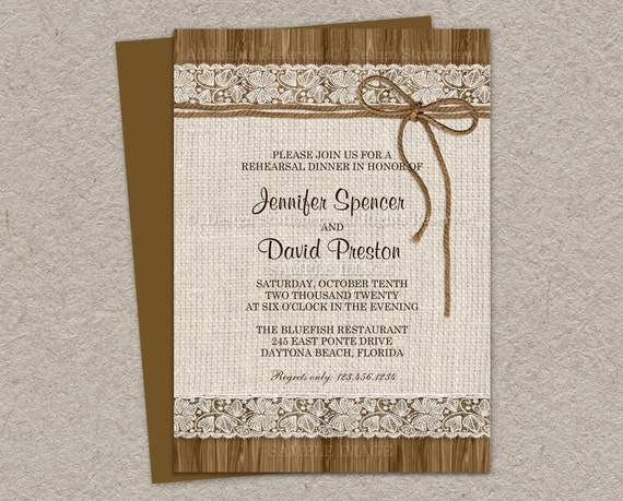 Rustic Rehearsal Dinner Invitation Rustic Wedding Rehearsal