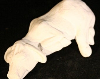 Ceramic Shelf Sitter Cow (Unpainted Bisque)
