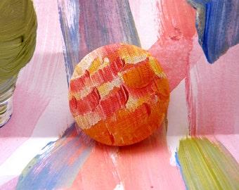 Summer Brooch/ Art Brooch/ Hand Painted Brooch/ Circle Brooch/ Pinback Brooch/ Wearable Art/ Impressionist Pinback Button