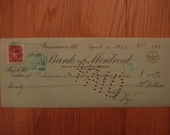 1947 Cancelled Check Bank of Montreal in BC, Canada