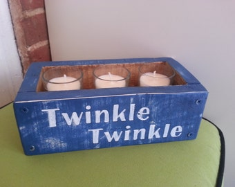 Twinkle Twinkle...sweet wooden candle box. Perfect indoors or on a covered porch. Votives included