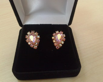 1960 Clip Earrings with  Pink Aurora Borealis stones
