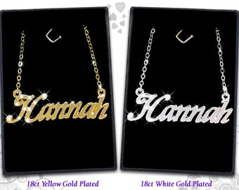 Name Necklace Hannah - 18K Gold Plated, Czech Rhinestones