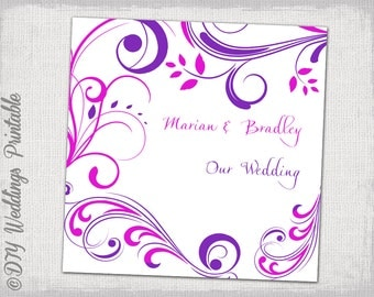 """Wedding CD/DVD cover template Purple and  Pink """"Scroll"""" DIY favor cards -editable printable instant download"""