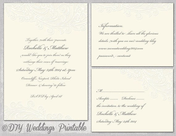 Wedding Invite Enclosures: Ivory Wedding Invitation Template RSVP Enclosure Templates