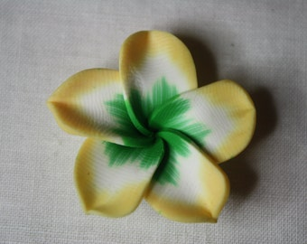 34mm Yellow And Green Polymer Clay Flower With Hole