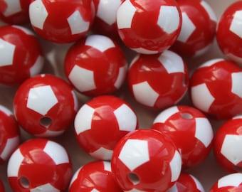 Football Acrylic Round Beads - 20mm - 22ct