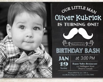 Chalkboard Little Man Mustache Birthday Invitation. Baby Boy Moustache Bash with photo. First 1st 2nd 3rd 4th any age. Printable digital DIY