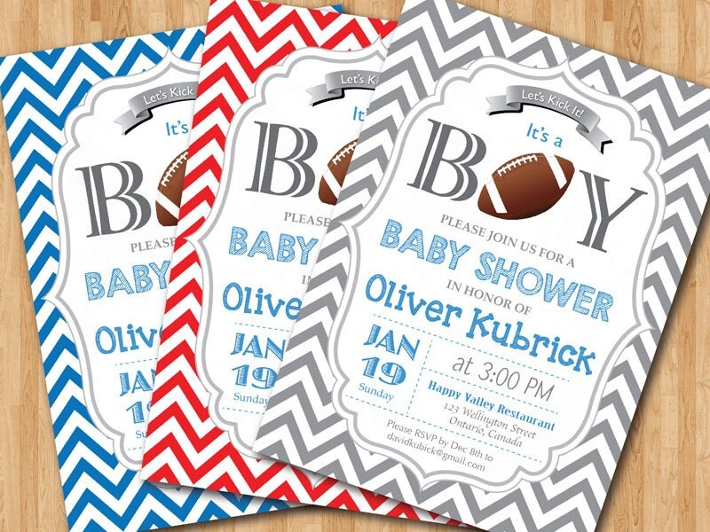 football baby shower invitation. baby boy chevron invites., Baby shower invitation