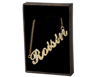Name Necklace Roisin - Gold Plated 18ct Personalised Necklace with Swarovski Elements
