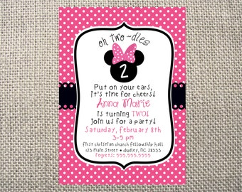 PRINTED or DIGITAL Minnie Mouse Inspired Toodles Polka Dot Birthday Invitations 5x7 Customized Minnie Mouse Twodles Invites Design 0.82