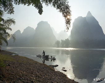 Travel photography - Fisherman on Li River, Guilin, China. Home office wall decor photographic print