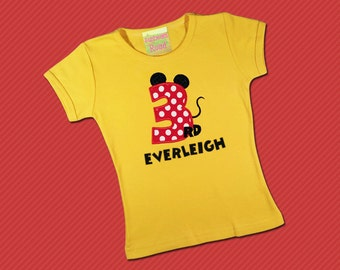 Girl Mouse Birthday Shirt with Mouse Number and Name