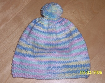 Knit Baby Hat - Variegated PomPom Baby Hat - 6 Months