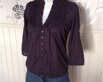 Ladies Vintage Cotton Blouse, Purple / Aubergine Blouse