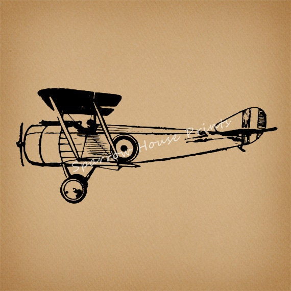 Vintage Plane Wall Decor : Antique airplane print vintage wall art plane home decor