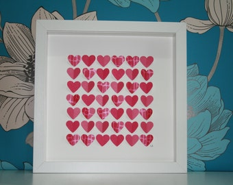 Bright Pink Hearts Framed Picture