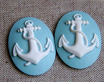 4pcs 30x40mm pad Lovely Anchor Cabochons Cameo RO001a