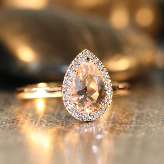 Handmade Pear Morganite Engagement Ring 14k Rose by LaMoreDesign