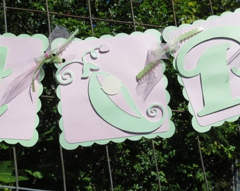 "Pea in a Pod - ""Sweet Pea"" Banner - Mint and Pink"