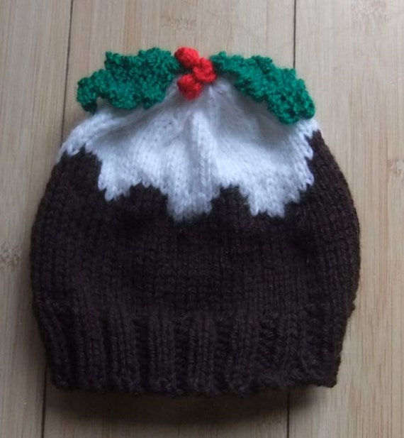 Knitting Patterns For Christmas Hats : Christmas Pudding Hat Knitting Pattern Age 1 to 3 by W8Creations
