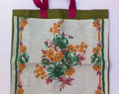 Mid-Century Vintage Linen Upcycled Tote with Green & Orange Flowers and Magenta Leaves