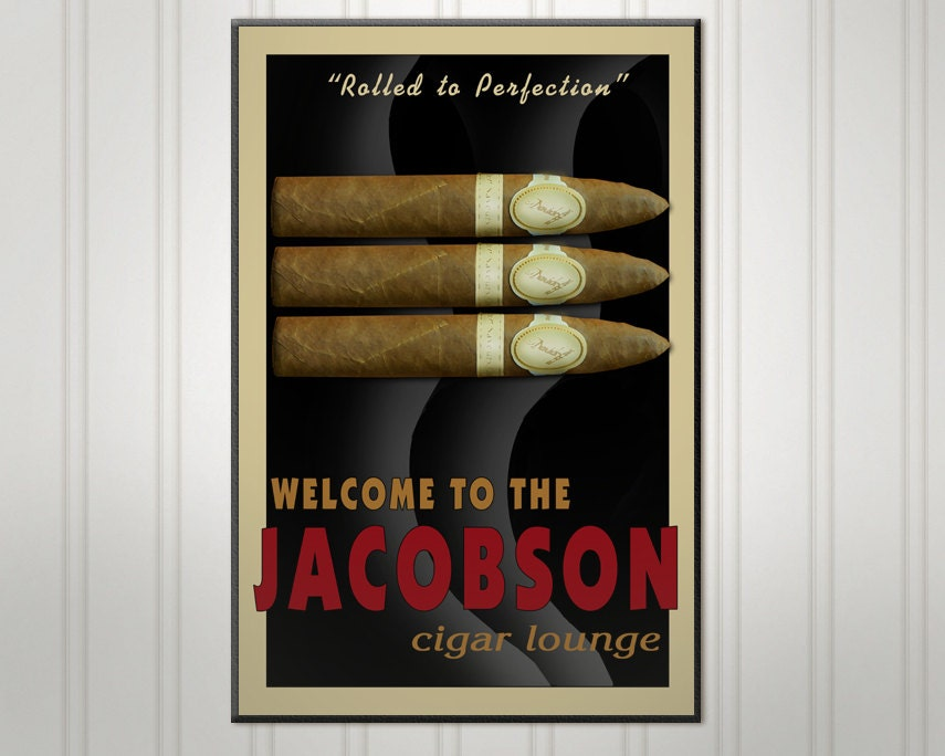 Large Personalized Man Cave Signs : Large personalized cigar sign wood man cave bar