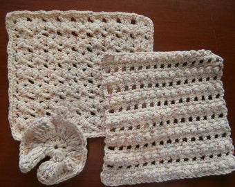 Hand Crocheted Dishcloths - Crochet Dish Cloth - Crochet Wash Cloth -  Set of 2 - 100% Cotton - Mothers Day
