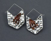 Earrings, Chevrons, woven fine silver with copper ribbons