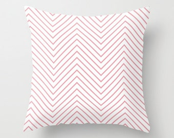 Velveteen Pillow - Pink Chevron Pillow - Chevron Accent Pillow - Teen Room Decor - Girls Room Decor - Dorm Decor - Girls Bedding - Pink