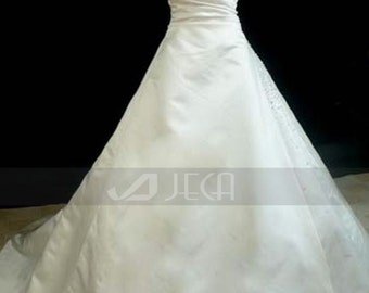 Crystal Beaded Full A-line  Spaghetti Straps Plus Sizes Wedding Gown WA192