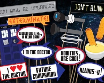 Doctor Who Photobooth ACCESSORIES PACK - Printables - 16 piece - Instant Download, Print, & Party - Dr Who Photo Booth Paper Props