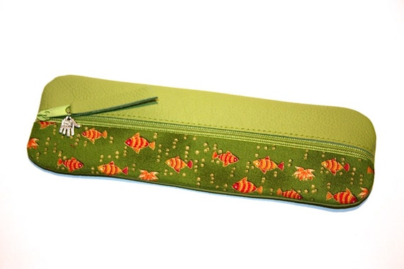 Pencil case green leather fabric fish gold unique for Fish pencil case