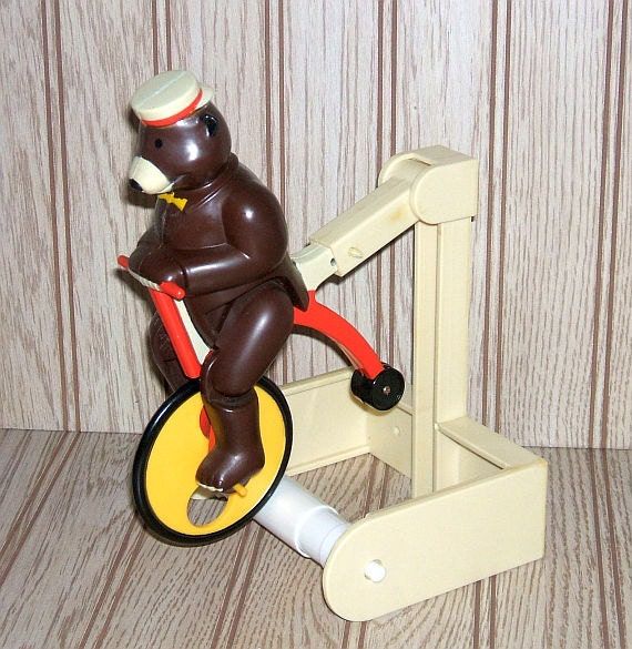 Toilet Paper Holder Bear On Unicycle Novelty By Livingwithvintage