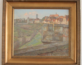 CHRISTIAN Frederik BECK (1876-1954) Rothenburg ob der Tauber Teufelskanzel Painter Denmark Painting Historic Important Before WW2 Bombing
