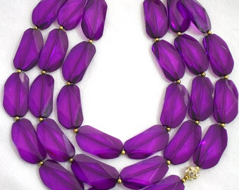 Mamey statement necklace Purple acrylic nuggets gold tone accent New Exclusive