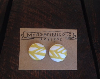 Fabric Button Earrings- large mustard yellow