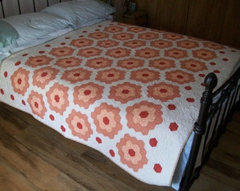 Handmade VINTAGE hand pieced hexagon patchwork, newly made into a beautiful quilt