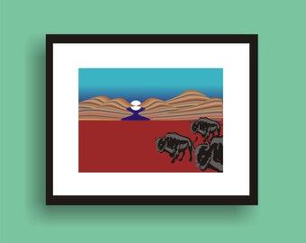 Buffalo -  Pop Art Original Print  by C Wiedenheft comes with a white mat and ready to frame.
