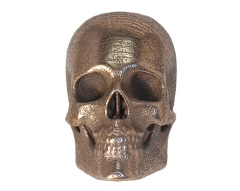 3D Printed Skull Pendant Stainless Steel Skull Jewelry Printed from CT Scans