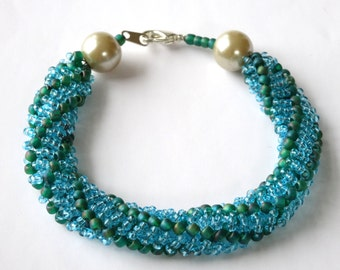 Light blue and green seed bead woven bracelet
