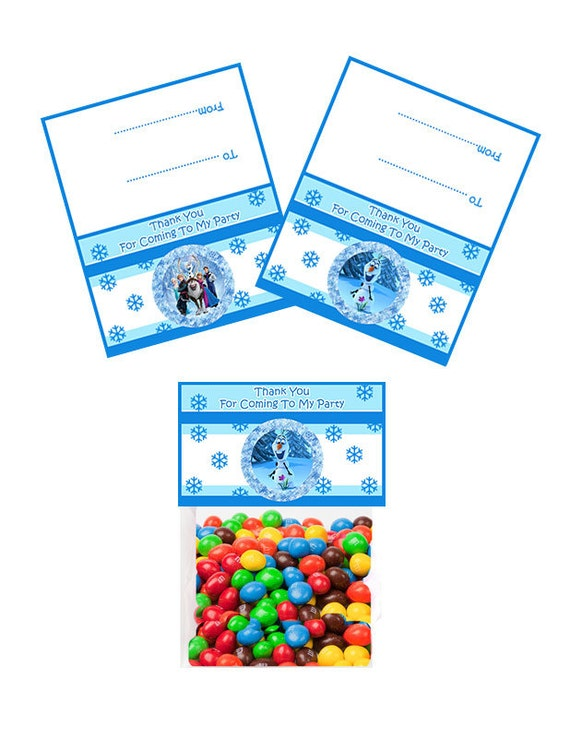 4 Inch Wide Frozen Favor Bag Toppers - Digital Download - Frozen Party