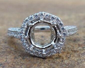 Free Shipping Solid 14K White Gold Round 6MM Semi Mount Ring / Diamond Ring