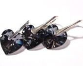 Valentine Gift, Handmade Earrings Pendant, Swarovski Heart Crystal Silver Night, Sterling Silver, Leverback Earrings, Black