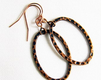 Rose Gold Earrings Hammered Copper Hoop Earrings Rose Gold Filled Ear Wires Trendy Modern