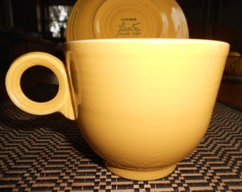 Original Yellow Fiesta Ware Cup and Saucer 1960-69