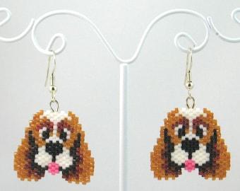 Beaded Spaniel Dog Earrings