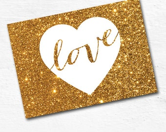 Valentine card print, 5x7 valentines card printable, gold glitter valentine card printable, gold heart print - INSTANT DOWNLOAD